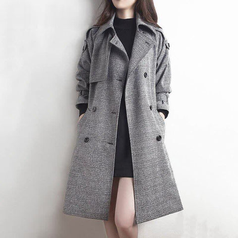 Faux wool winter coat women womens classic gray coats and jackets office ladies vintage elegant outwewar plaid detective clothes