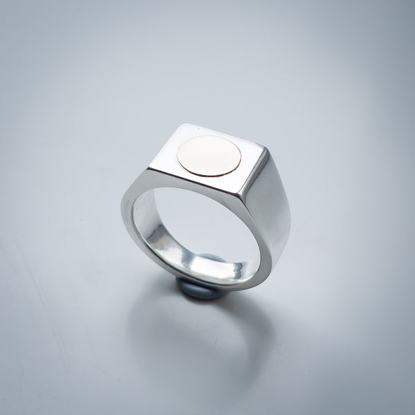 Fine Silver Signet Ring with 9K Yellow Gold Decoration