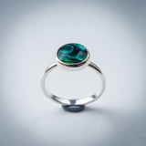 Sterling Silver and Green Paua Shell Ring - AKA Abalone - Simplicity