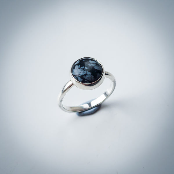 Sterling Silver and Snowflake Obsidian Ring