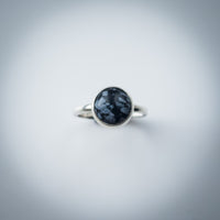 Sterling Silver and Snowflake Obsidian Ring - Simplicity