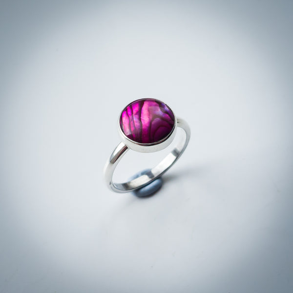 Sterling Silver and Pink Paua Shell Ring - AKA Abalone - Simplicity