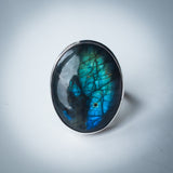 Huge Labradorite and Sterling Silver Statement Ring
