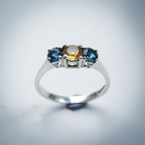 Sterling Silver Trilogy Ring with Swiss Topaz and Citrine