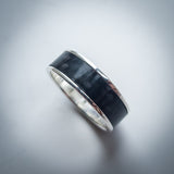 Sterling Silver and Carbon Fibre Ring - 7.5mm Wide Band