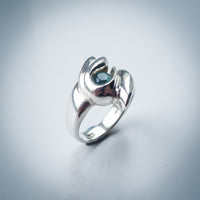 Sky Topaz and Sterling Silver Swirl Ring