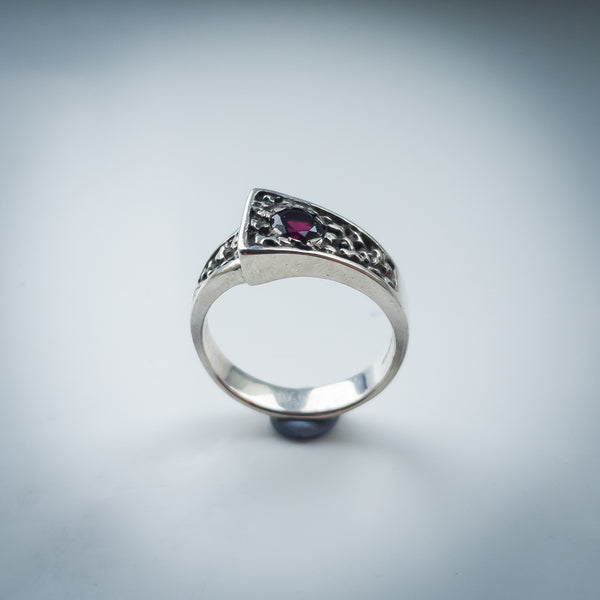 Textured Sterling Silver Band and Garnet Ring