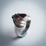 Heart Shaped Sterling Silver Ring with Wave Texture and Teardrop Garnet