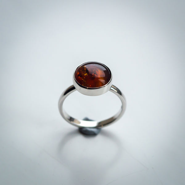 Sterling Silver and Amber Ring - Simplicity