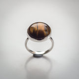 Sterling Silver and Large Tigers Eye Ring - Simplicity