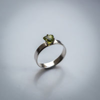 Trillian Cut Peridot Mounted on a Sterling Silver Band