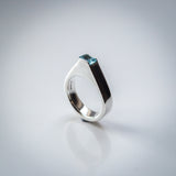 Hollowform Sterling Silver Ring with a Baguette Cut Sky Blue Topaz