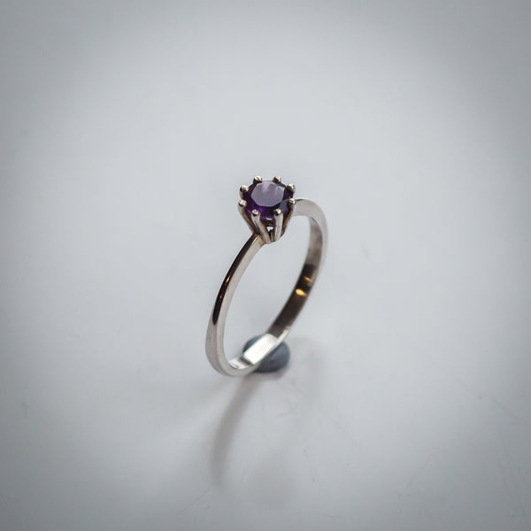Forged Sterling Silver Band with Prong Set Amethyst Ring