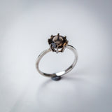 Forged Sterling Silver Band with Prong Set Smoky Quartz Ring