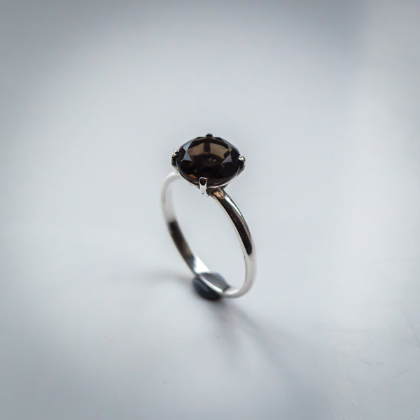 Four Prong Set Smoky Quartz Ring with Sterling Silver Band