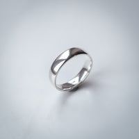 Hand Cast Sterling Silver Ring - 5mm Wide Wedding Band