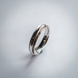 Hammer Finish Sterling Silver Concave Ring with Polished Central Band
