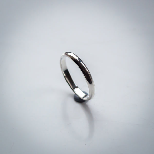 "Sterling Silver Plain Stacking Ring - 2mm Wide ""D"" Profile Band"