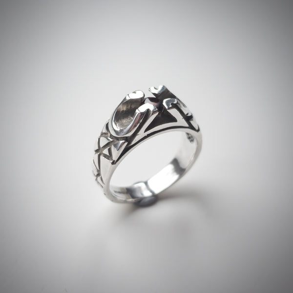 Sterling Silver Ring with Rustic Pattern and Solitaire Garnet