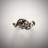 9k Gold Ring Set with Diamond, Tanzanite & Sapphire Gemstones