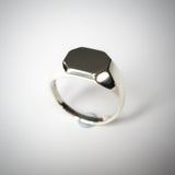 Heavy Mens Octagonal 9K White Gold Signet Ring