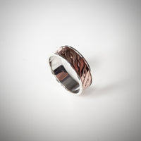 Sterling Silver Ring Band with Twist Pattern Copper Inlay