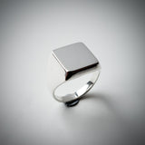 "Sterling Silver Signet Ring with a Square Face. Euclidean Collection - ""Four"""