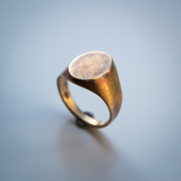 Mens Distressed 14K Gold Oval Signet Ring