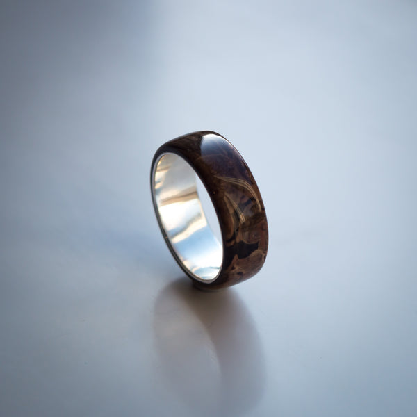 Dark Birch Burl Solid Wood Ring Band with Sterling Silver Core