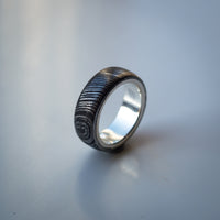 Damascus Steel Ring Band with Sterling Silver Core