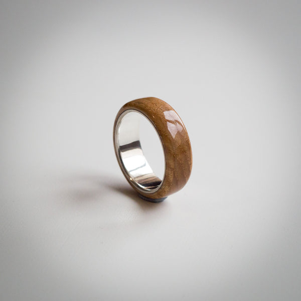 Natural Solid Antique Oak Wood Ring with Sterling Silver Core
