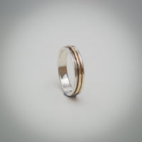 Sterling Silver Spinner Ring with a Textured 9k Gold Central Band