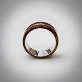 Solid Golden Birch Burl Wood Ring with Sterling Silver Core & Offset Inlay
