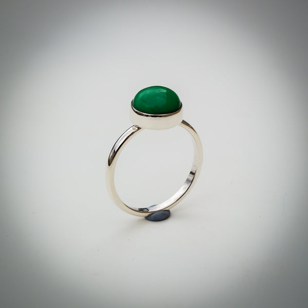 Sterling Silver and Jade Ring - Simplicity