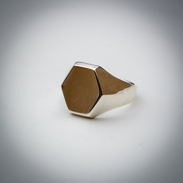"Sterling Silver Signet Ring with a Hexagonal Face. Euclidean Collection - ""Six"""