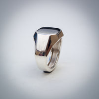 Massive Hollow Eight Sided Sterling Silver Signet Ring