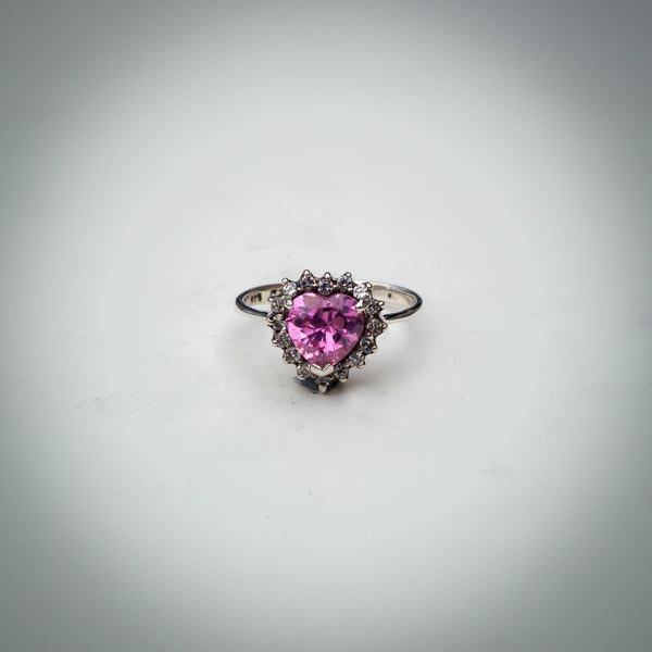 Sterling Silver and Pink Heart Cubic Zirconia Ring