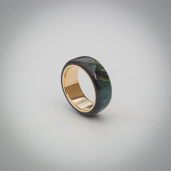 Solid Birch Burl Wood Ring with 9k Gold Core - Twilight Jungle Green Stain