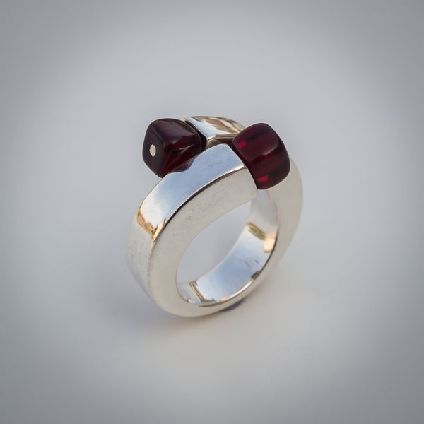 Sterling Silver Czech Glass Garnet Ring - Adjustable Crossover with Twist.