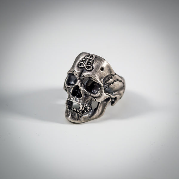 Highly Detailed Gothic Skull Ring with Occult Leviathan Cross in Oxidised Sterling Silver