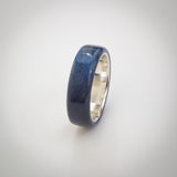 Electric Blue Stained Antique Oak Wood Ring with Sterling Silver Core