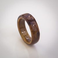 Solid Natural Elm Burl Wood Ring with Antique Oak Core