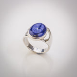 Sterling Silver and Large Oval Lapis Lazuli Ring