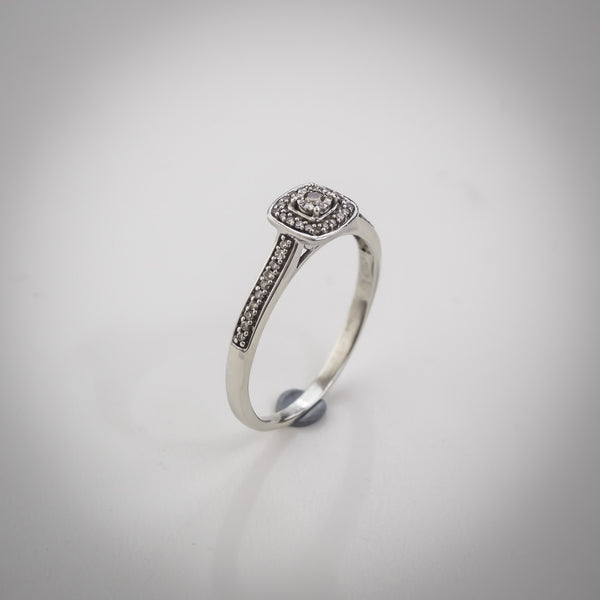 "9k White Gold and Diamond Ring - Halo Setting with Pave Shoulders - Size ""R"""