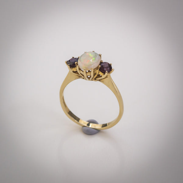 "9k Gold, Garnet and Opal Ring - Size ""N"""