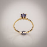 "9k Gold and Iolite Solitaire Ring - Size ""O"""