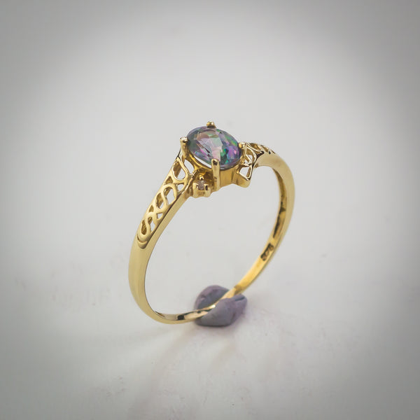 "Mystic Topaz and 9k Gold Solitaire Ring - Size ""O"""
