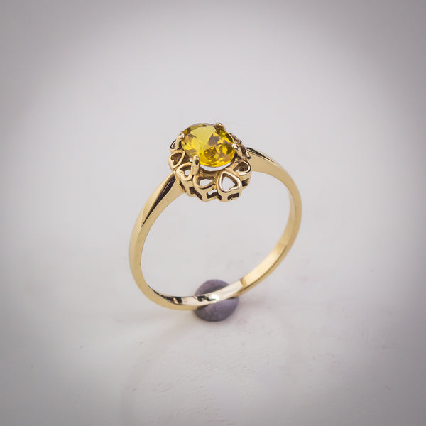 "Yellow Cubic Zirconia and 9k Gold Solitaire Ring - Size ""O"""