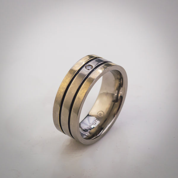 "Three Band Titanium Ring with Cubic Zirconia - Size ""R"""