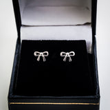 Sterling Silver Ribbon Bow Stud Earrings